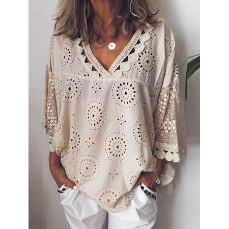 Women's Long Sleeve Blouse Tops, Summer Elegant Casual T-Shirts for Women, Beige / Green Lace Pullover Tops for Ladies, S-5XL