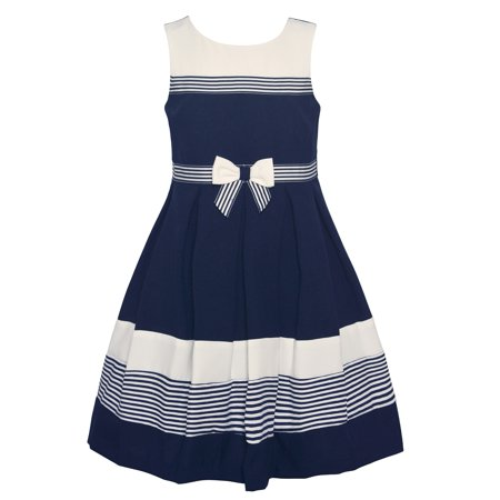 a30ba6f2506 Bonnie Jean Little Girls Navy White Striped Sleeveless Sailor Dress -  Walmart.com