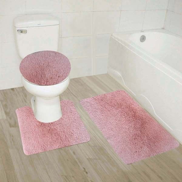 9 Light Pink 3 Piece Shiny Soft Plush Bathroom Mat Set