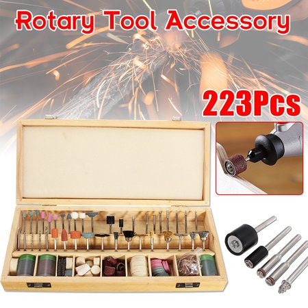 223PCS/set Rotary Power Tool Accessory Bits 1/8'' Sanding Polishing Cutting Accessory Kit with Storage Box for Woodwoking Grinding Hobby