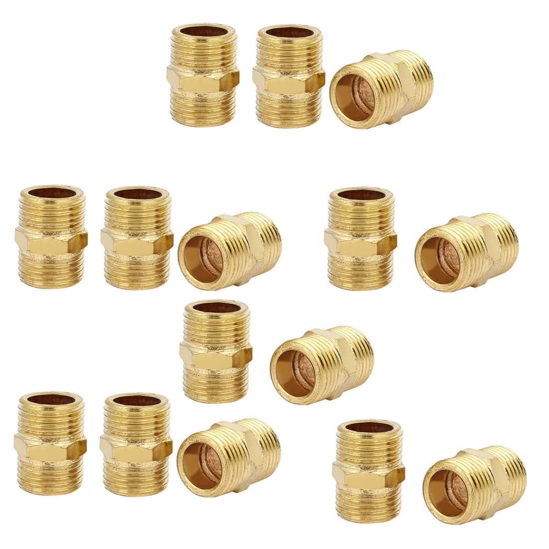 1/2BSP Male Thread Brass Hex Nipple Tube Pipe Connecting Fittings 15pcs