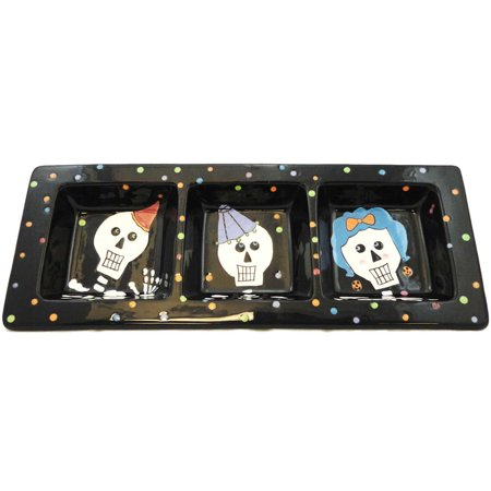 Halloween BOO BASH DIVIDED PLATE Ceramic 99313 (Halloween Plates Ceramic)
