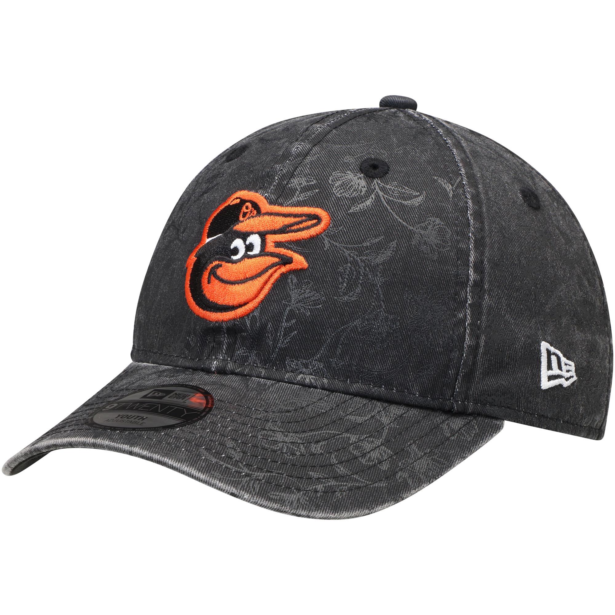Baltimore Orioles New Era Girls Youth Floral Peek 9TWENTY Adjustable Hat - Black - OSFA
