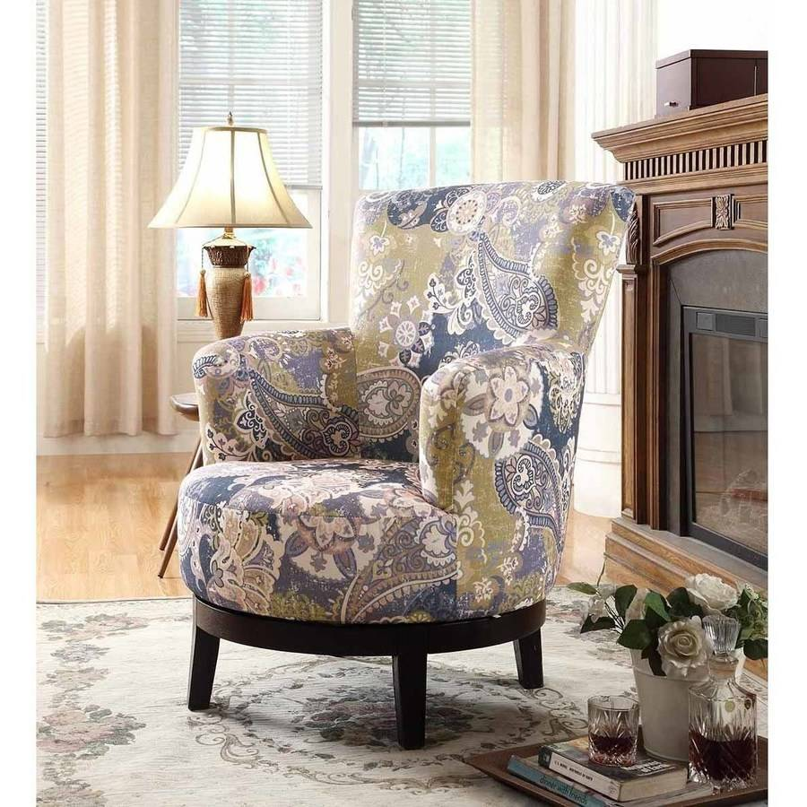 Nathaniel Home Zoey Swivel Accent Chair, Flower Pattern