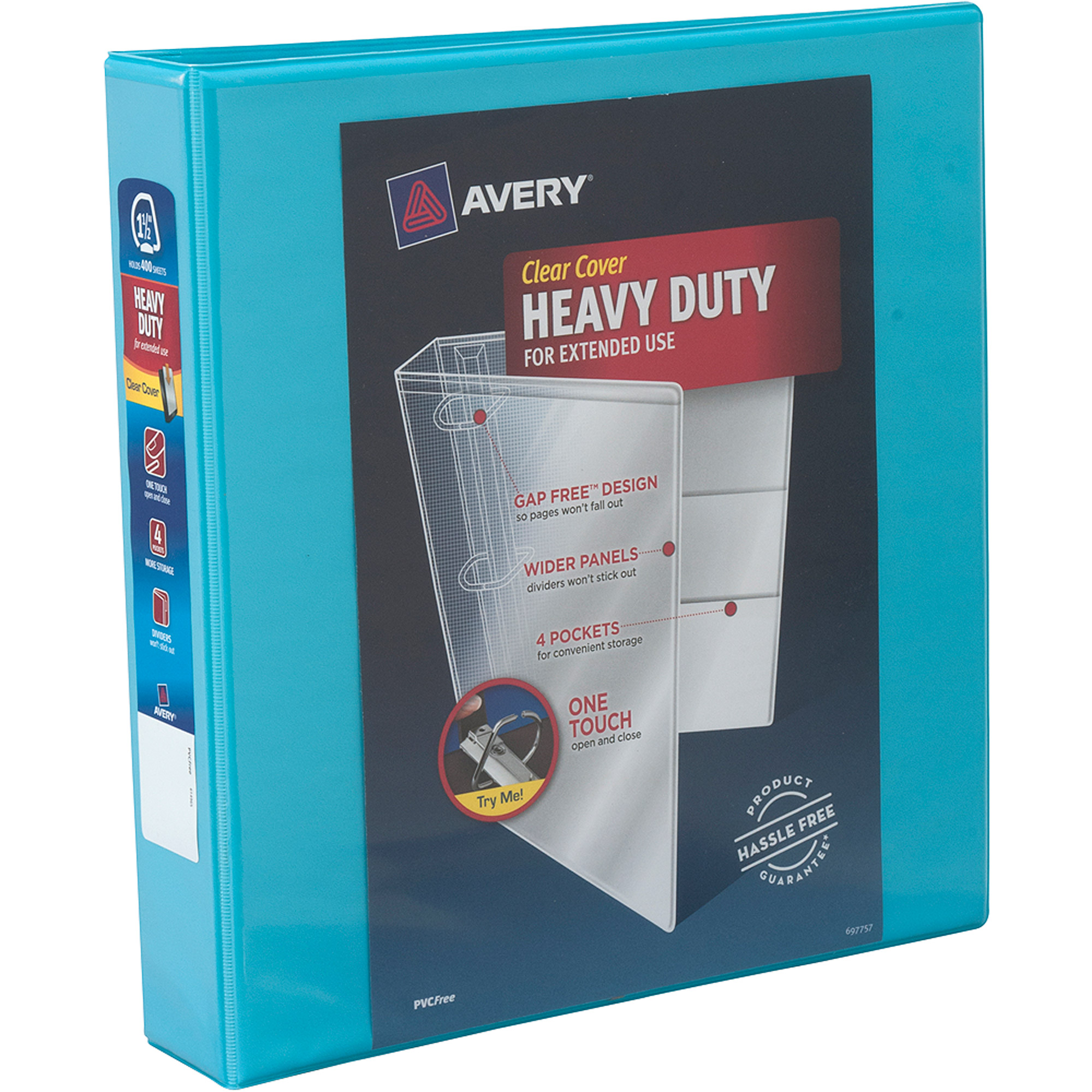 "Avery 1.5"" Heavy-Duty Clear Cover Binder with 1-Touch Slant Ring, Aqua"
