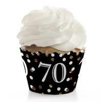 Adult 70th Birthday - Gold - Birthday Party Cupcake Wrappers - Set of 12