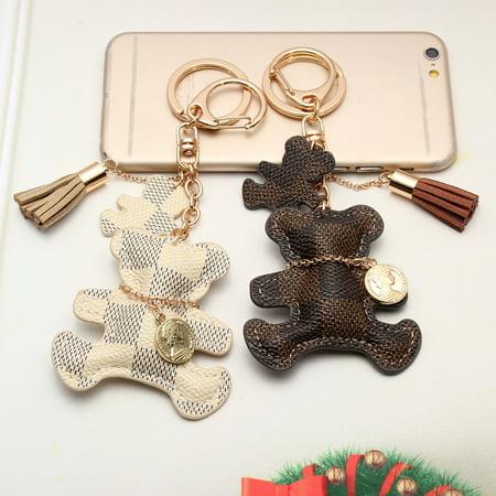 - Cute Leather Bear With Tassel Style Purse Handbag Phone Keyring Key Chain Finder