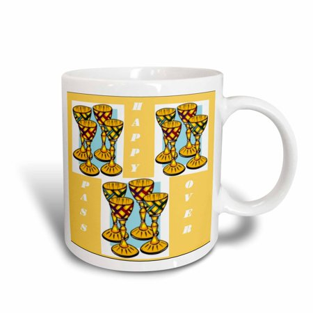 3dRose Image of Happy Passover Wine Cups Repeat - Ceramic Mug, 11-ounce