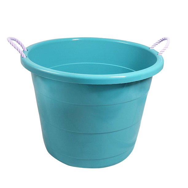 Your Zone 17 Gallon Tub With Lilac Bud Rope Handles Turquoise Set Of 2 Walmart Com Walmart Com
