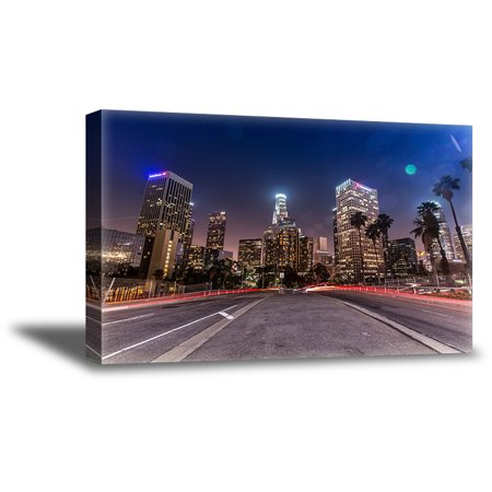 Awkward Styles LA Road Los Angeles Night View Canvas Wall Decor American Roads Photo for Office Decor Gifts from Los Angeles Urban Fine Art Collection American Decor Style Los Angeles Cityscape Canvas