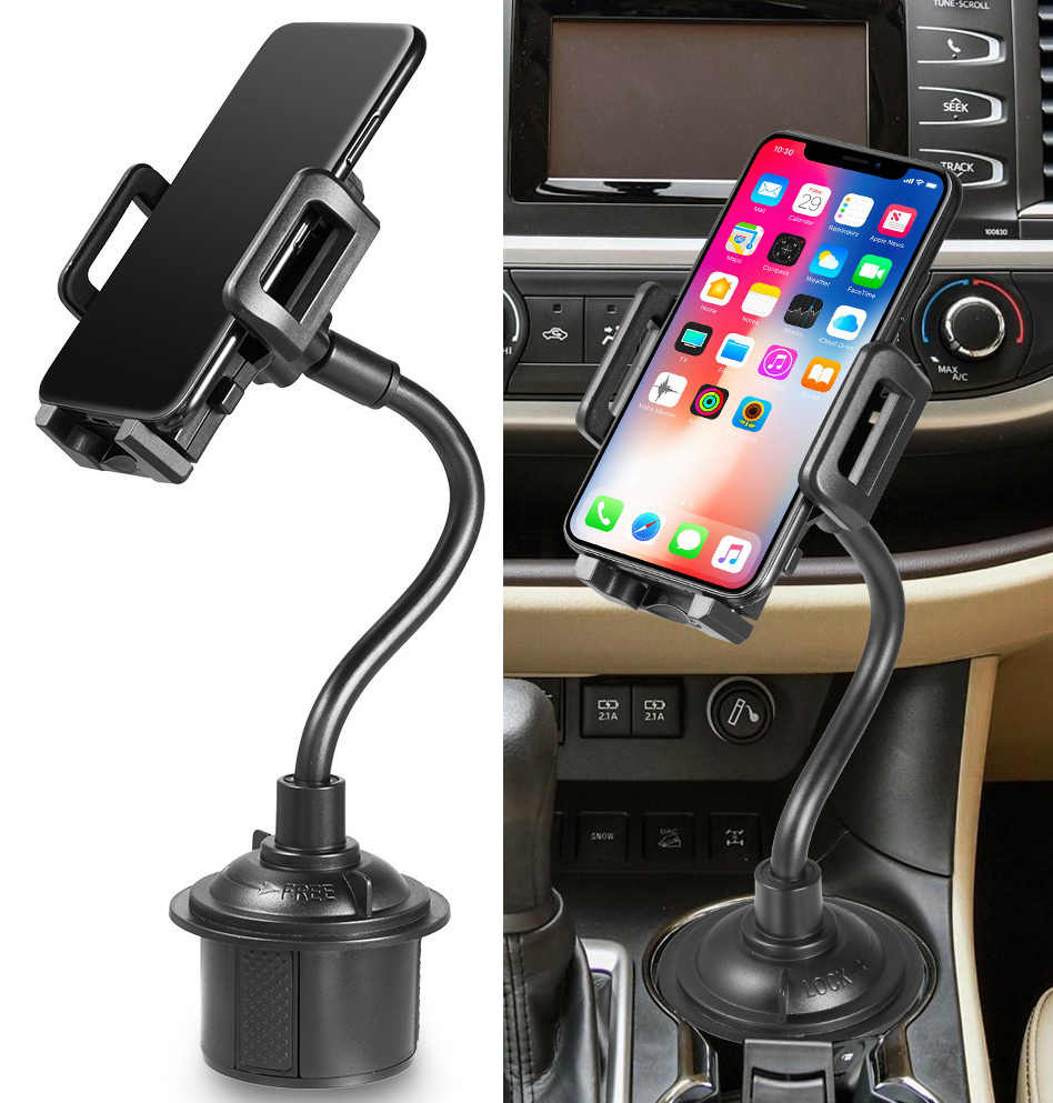 Car Phone Mount, Nakedcellphone Cup Holder Adjustable/Universal Apple iPhone XS XS Max XR X 8 8+ 7 Plus 6s 6 5s SE, Samsung S9 S9+ Note 8 Galaxy S8, LG, Nexus, Google Pixel 3, Motorola Moto Z3, etc