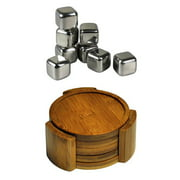 Healthpro Bar Coaster Cube Package, Includes 5 Piece Organic Moso Bamboo Heavy Duty Round Coaster Set And 8 Piece Tuscani Stainless Steel Reusable Ice Cubes with Tongs