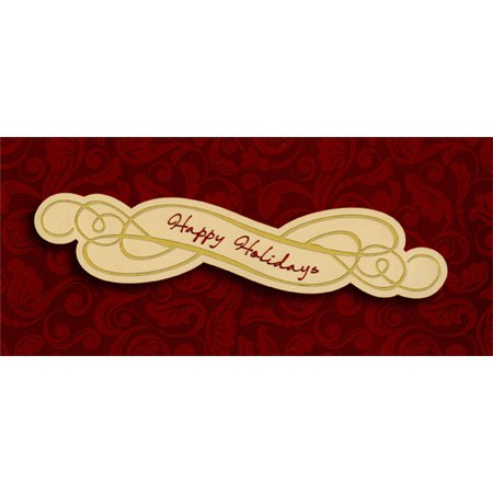 Designer Greetings Happy Holidays on Burgundy Swirls - Christmas Money / Gift Card Holder
