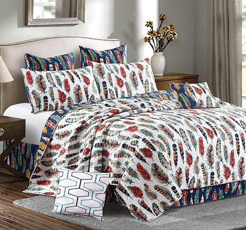 Reversible Boho Feathers Quilt Set - King Size