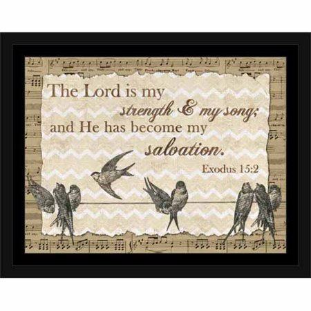 Lord Is My Song Exodus Birds on A Wire Chevron Music Paper Religious Painting Tan & Brown, Framed Canvas Art by Pied Piper (Brown Bird Craft)