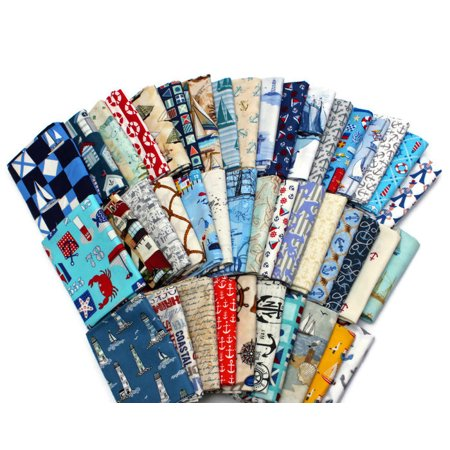 10 Fat Quarters - Assorted Nautical Sea Ships Boats Anchors Sailors Seagoing Sailing Boating Waves Quality Quilters Cotton Fabrics M227.01