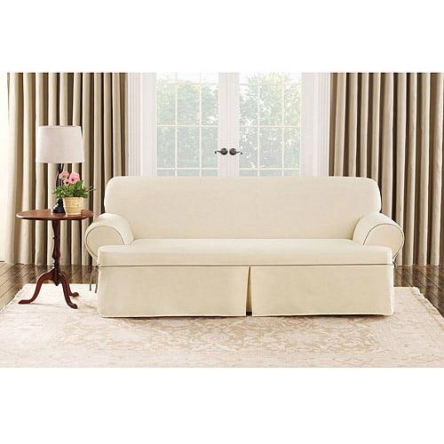 Sure Fit Cotton Duck T-Cushion Sofa Cover