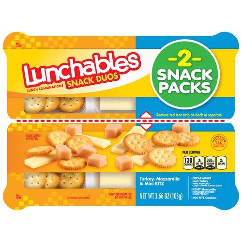 Lunchables Snack Duos Turkey, Mozzarella & Mini Ritz Snack Packs, 2 count, 3.66 oz