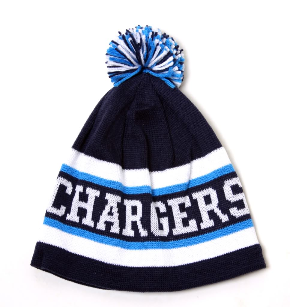 San Diego Chargers Short Cuffless Beanie With Pom On Top - Navy/White