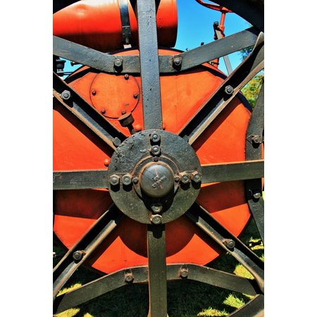 Black Wheel Red Steam Engine Engine Part Steam Stretched Canvas 10 x