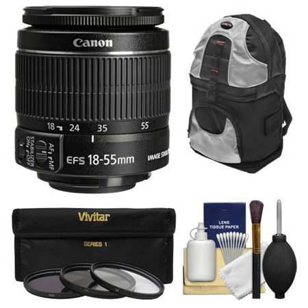 Canon EF-S 18-55mm f/3.5-5.6 IS II Zoom Lens with 3 UV/CPL/ND8 Filters + Sling Backpack Kit for EOS 70D, 7D, Rebel T3,