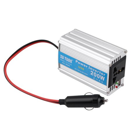 WALFRONT Silver 200W DC 12V to AC 110V Car Power Inverter Converter USB Charger Adapter,Car Power Inverter,12V to 110V Power Inverter - image 7 of 7