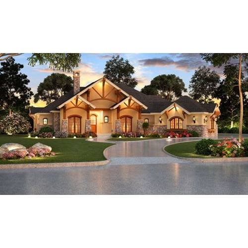 TheHouseDesigners-4846 Luxury Craftsman House Plan with Slab Foundation (5 Printed Sets)
