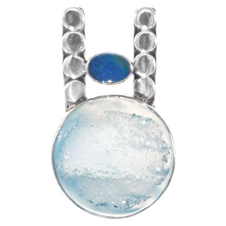 Australian Opal Blue Dyed Agate Druzy 925 Sterling Silver Pendant, 1 (Druzy Geode Agate Pendant)