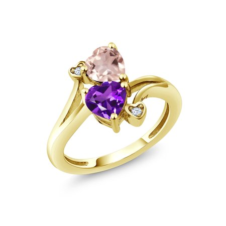 Rose Quartz Gemstone Ring (1.38 Ct Rose Rose Quartz Purple Amethyst 18K Yellow Gold Plated Silver Ring )