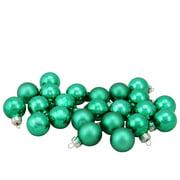 "24-Piece Shiny and Matte Green Mini Glass Ball Christmas Ornament Set 1"" (25mm)"