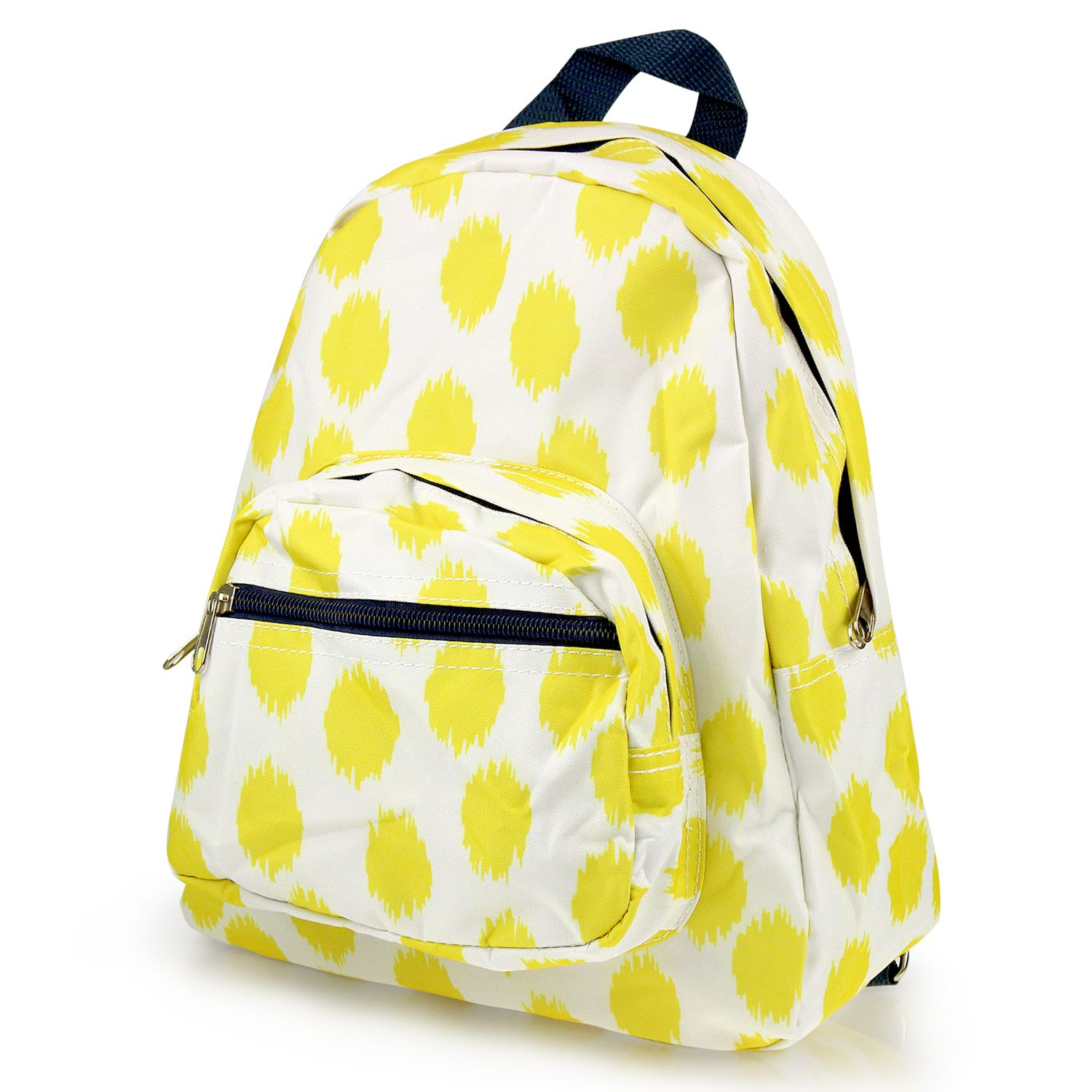 Kids Small Backpack Outdoor by Zodaca Bright Stylish Shoulder School Zipper Bag Adjustable Strap Yellow Dots with Blue... by