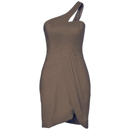 Faship Womens One Shoulder Short Formal Dress Chocolate Brown - 18,Chocolate