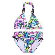 Gossip Girl Multi Color Floral Print Halter Bra Underwear 2 Piece Swimsuit 7