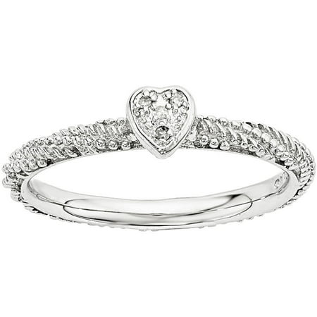 Stackable Expressions Diamond Sterling Silver Textured Heart Ring