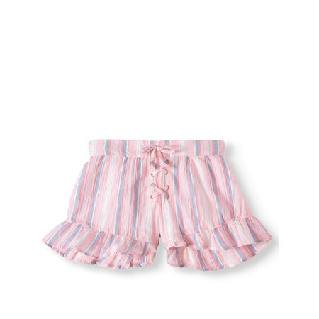 Ruffled Stripe Short with Lace Up Detail (Big Girls)