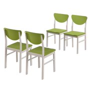 Green & Vanilla White Wood Kitchen Dinette Side Dining Chairs (Set Of Four)
