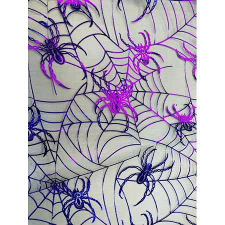RTC HALLOWEEN FABRIC, SPIDER SHEER PURPLE, 100% NYLON, Quilt Crafts Fabric By The - Halloween Fabric Panels