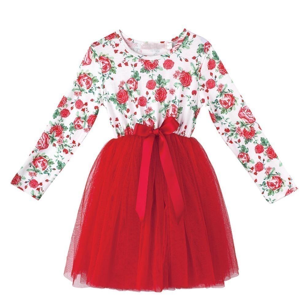 Designer Kidz Girls Red Rose Print Bow Candy Tutu Easter ...