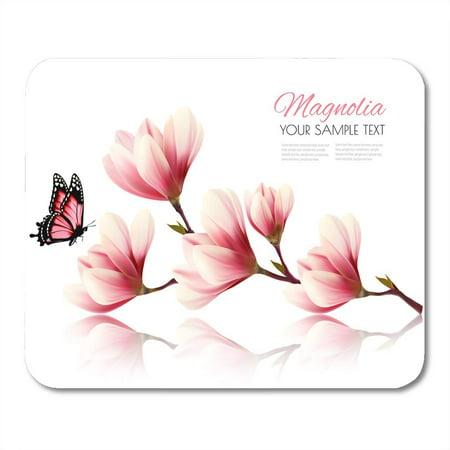 LADDKE Bloom Pink Flower Beautiful Magnolia Branch Butterfly Purple Beauty Mousepad Mouse Pad Mouse Mat 9x10 inch
