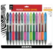 Zebra Sarasa Retractable Gel Ink Pens, Medium Point 0.7mm, Assorted Color Rapid Dry Ink, 14-Count