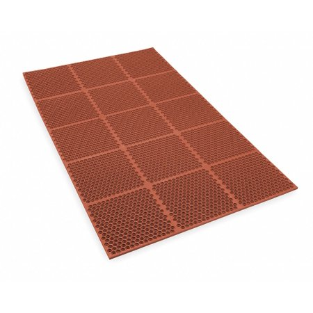 NoTrax T15 Heavy Duty Nitrile Rubber Optimat Safety/Anti-Fatigue Mat, for Wet or Greasy Areas, 3' Width x 2' Length x 1/2' Thickness, Brown