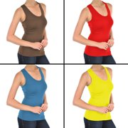 4pk Racerback Ribbed Microfiber Tank Top Stretch Fit Workout Layering One Size BROWN, RED, BLUE, YELLOW