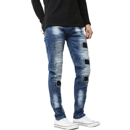 Ma Croix Mens Biker Jeans Slim Fit Distressed Ripped Zipper Stretch Denim Pants (Slim Fit Jeans Ripped Men)