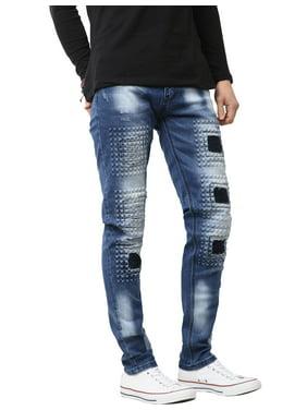 Ma Croix Mens Biker Jeans Slim Fit Distressed Ripped Zipper Stretch Denim Pants