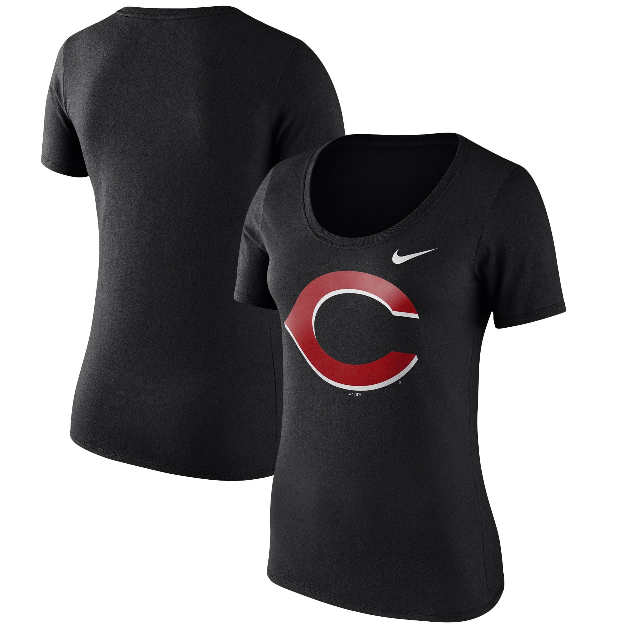 Women's Nike Black Cincinnati Reds Logo Scoop Neck T-Shirt