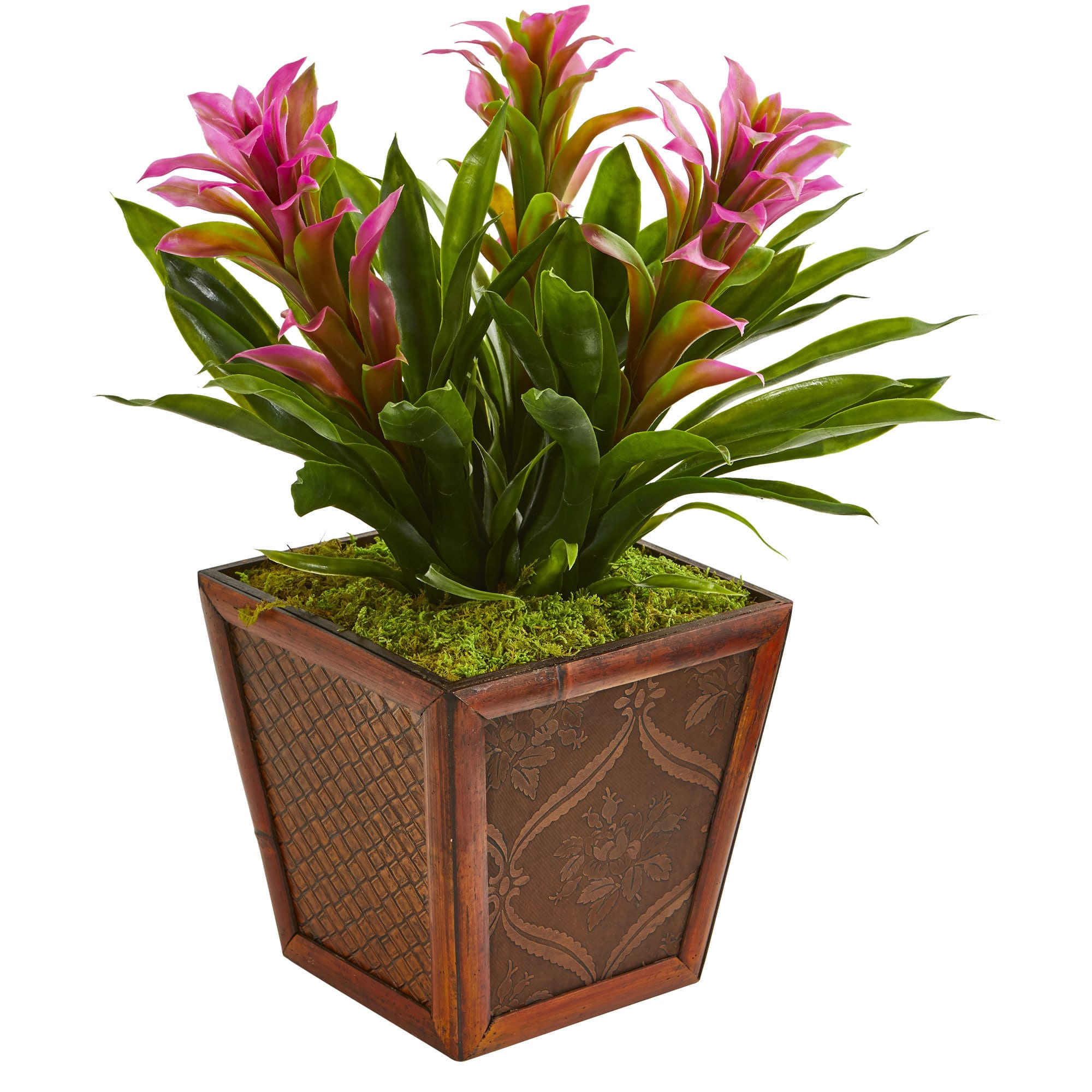 Nearly Natural Triple Bromeliad Artificial Plant in Decorative Planter