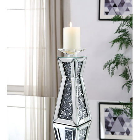 Acme Nowles Accent Candleholder in Mirrored and Faux Stones