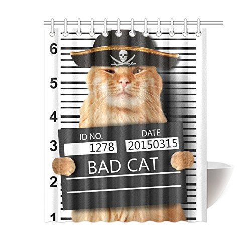 GCKG Pirate Cat Shower Curtain Hipster Funny Animal Cats Polyester Fabric Bathroom Sets 60x72 Inches