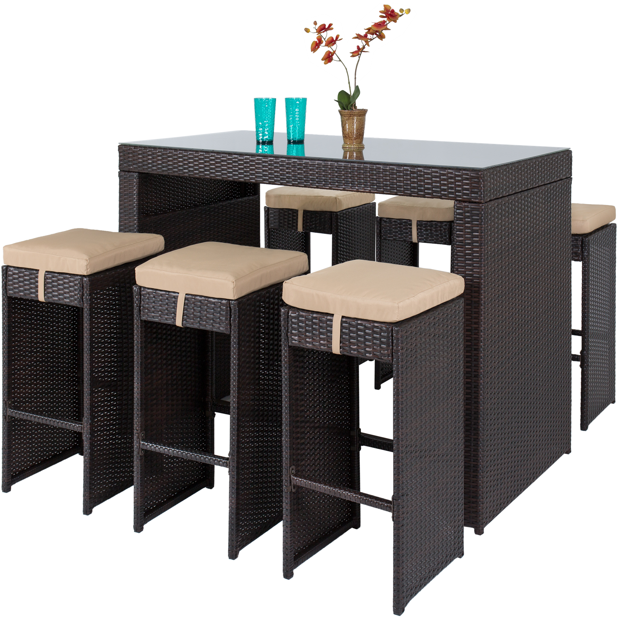 Best Choice Products 7pc Rattan Wicker Bar Dining Table Patio Furniture Set by