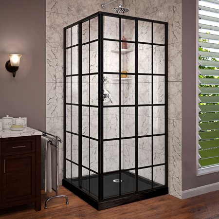 DreamLine French Corner 42 in. D x 42 in. W x 74 3/4 in. H Framed Sliding Shower Enclosure in Satin Black and Black Acrylic